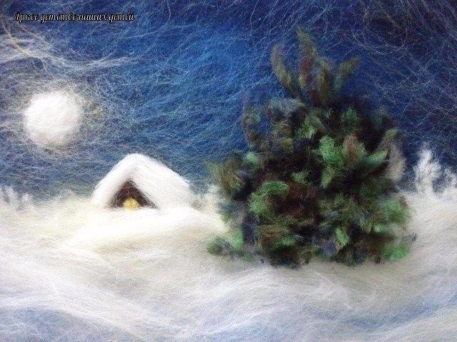 Зимние картины и поделки с использованием ваты