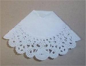 Открытка с платьем из ажурной салфетки