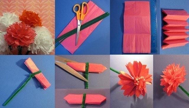 Гвоздики из бумаги