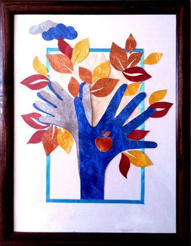 Осенняя аппликация: деревья из ладошек