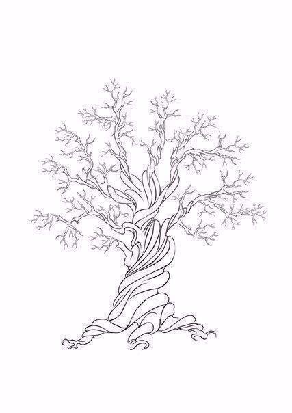Рисуем листву дерева отпечатками пальцев 6