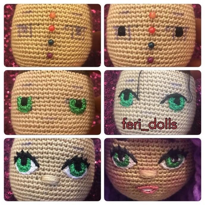 Как красиво вышить кукле глазки