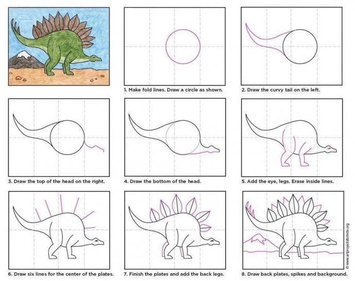 Учим детей рисовать динозавров