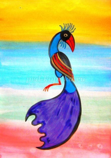 Рисуем с детьми волшебных птиц