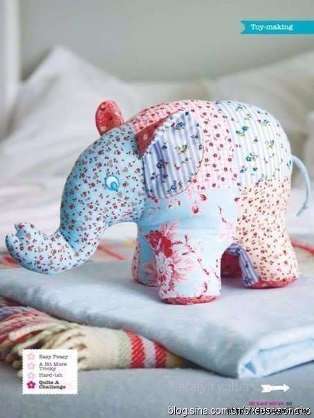 Текстильная игрушка: винтажный слоник