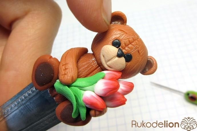 """Декор детской ложки """"Мишка с тюльпанами"""""""