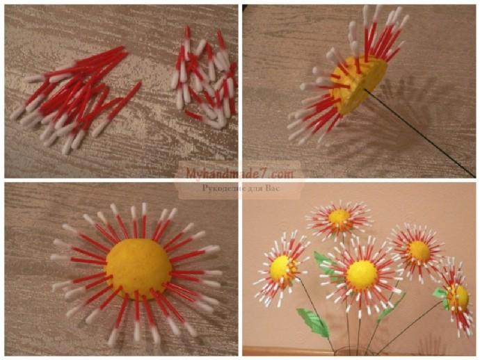 Цветы, созданные с использованием ватных палочек