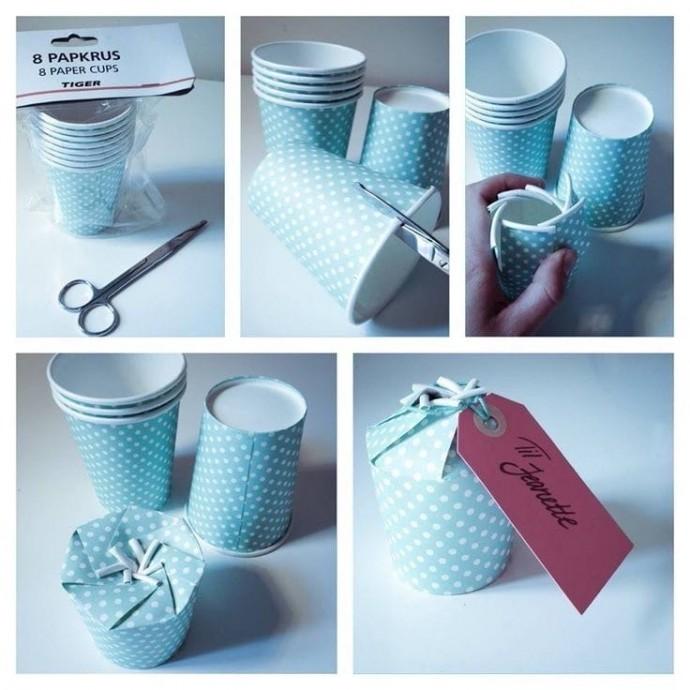 Коробочка для подарка из бумажного стакана 0