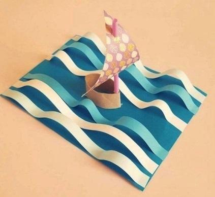 Поделка кораблик на волнах