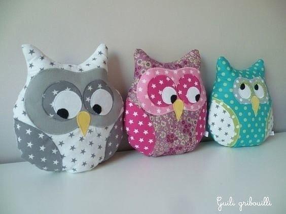 Текстильные совушки для детских игр