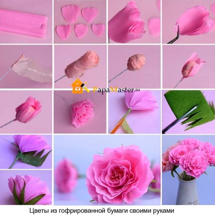 Розовая роза из гофрированной бумаги