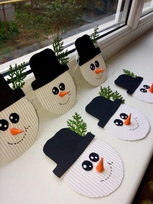 Новогодние снеговики с детьми: идеи