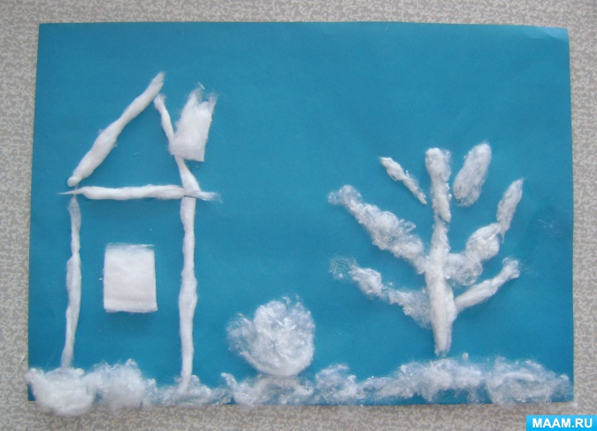 Идеи для зимних аппликаций с использованием ваты