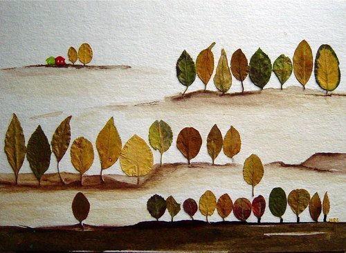 Оригинальные аппликации с использованием листьев