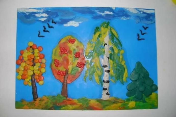 Осенние картины из пластилина