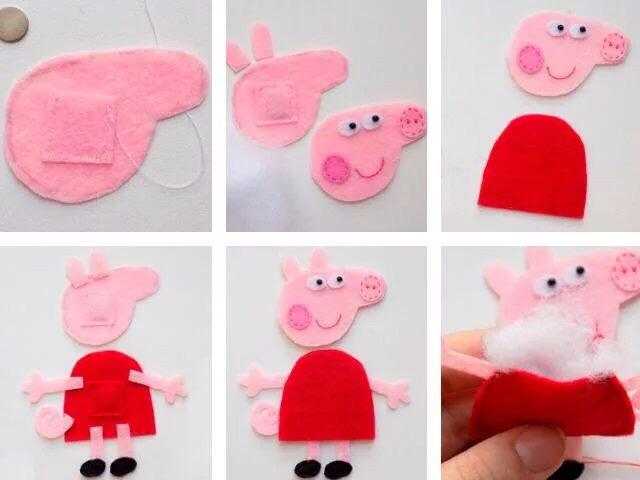 Поделки из фетра: свинка Пеппа