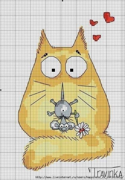 Забавные коты для вышивки крестиком
