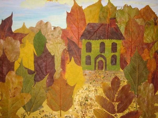 Осенние картины из листьев