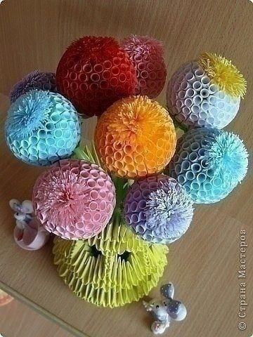 Цветочки-шарики из бумаги