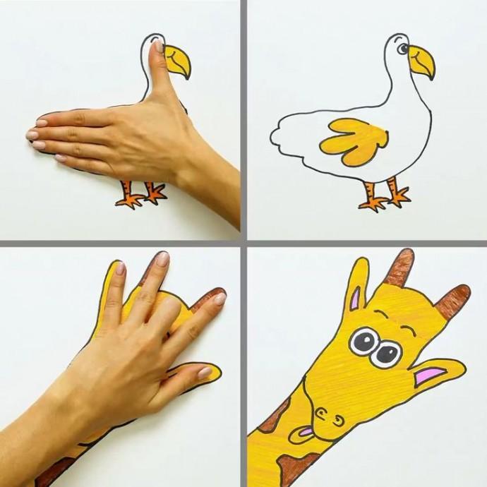 Рисуем с детьми, обводя кисти рук